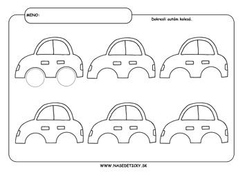 Grafomotorika - dokresľovanie kolies na auto