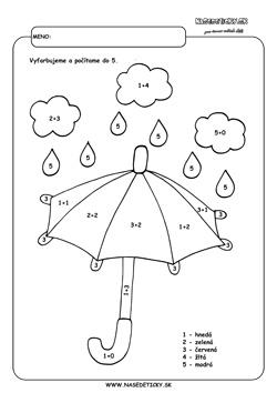Dáždnik. Vyfarbujeme podľa čísel.