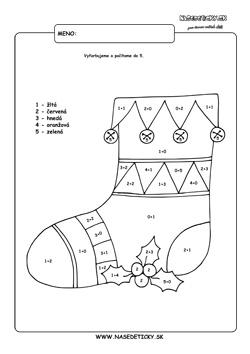 vianočná ponožka - omaľovánka