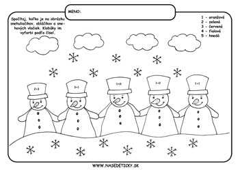 Snehuliaci. Omaľovánka.