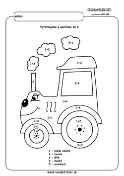 Traktor. Omaľovánka.