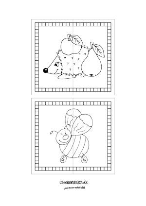 Puzzle zvieratká - ježko a včielka