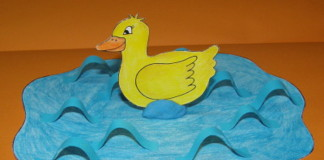 Kačička v jazierku - jarná ozdoba pre deti
