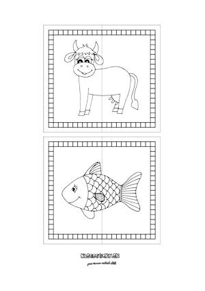 Puzzle zvieratká - krava a rybka