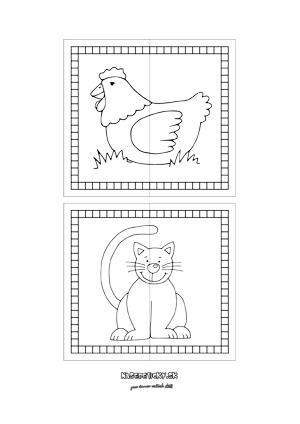 Puzzle zvieratká - sliepka a mačka