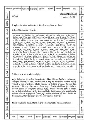 Pracovný list - vybrané slová