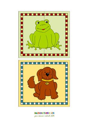 Puzzle zvieratká - žabka a pes