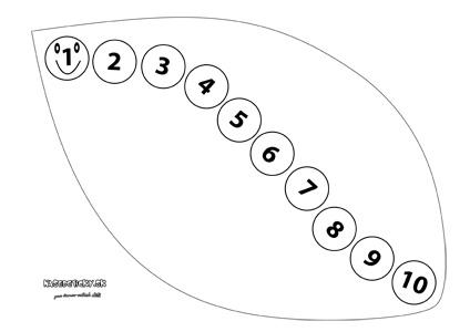 Pre najmenších - húsenička na liste s číslami