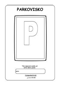 Dopravné značky - omaľovánky -parkovisko