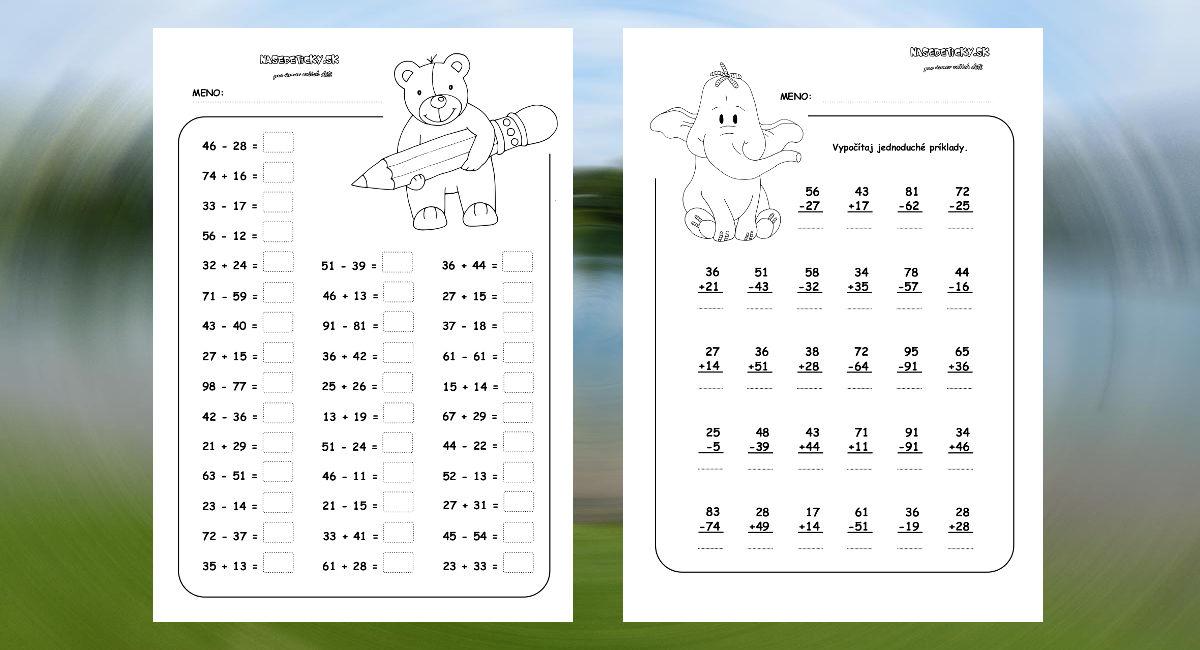 Matematika Pre Druh 225 Kov Aktivity Pre Deti Pracovn 233