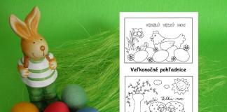 Veľkonočné pohľadnice pre deti na vyfarbenie