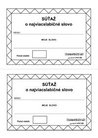 Slabiky - pracovný list - súťaž