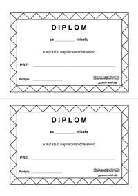 Slabiky -pracovný list - súťaž - diplom
