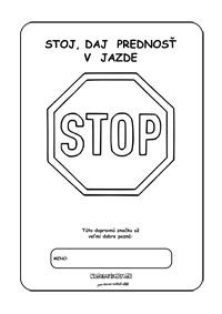 Dopravné značky - omaľovánky - stopka