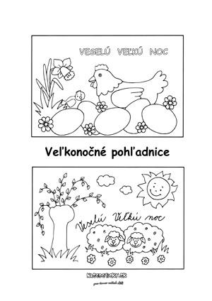 Veľkonočné pohľadnice na vyfarbenie pre deti