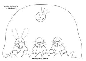 Grafomotorika. Kreslíme zajkom uši.