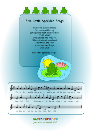 Five little speckled frogs - song for kids