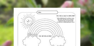 Farebná dúha - pracovný list pre deti