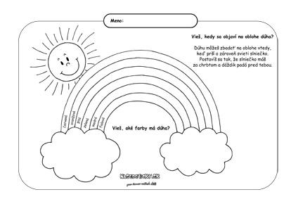 Dúha - pracovný list pre deti