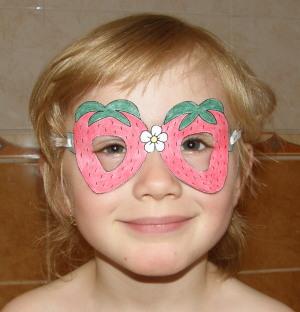 Okuliare - jahôdky - pre deti - z papiera