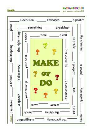 Make and do worksheet