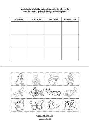 Triedime zvieratká - pracovný list pre deti