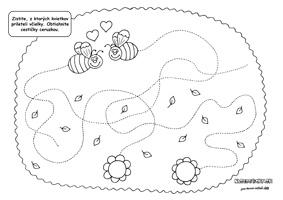 Včielky hľadajú cestičku - pracovný list pre deti