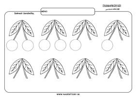Čerešne - grafmotorika - pracovné listy pre deti