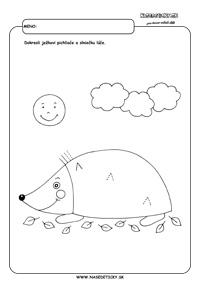 Ježko - grafomotorika - pracovné listy pre deti