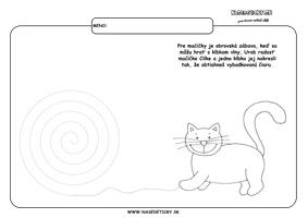 Mačka - grafomotorika - pracovné listy pre deti