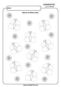 Motýle - grafomotorika - pracovné listy pre deti