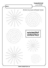 Silvester - ohňostroj - grafomotorika - pracovné listy pre deti