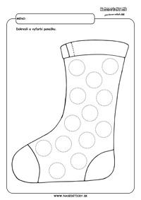 Ponožka - grafomotorika - pracovné listy pre deti
