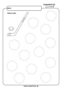 Hokej - grafomotorika - pracovné listy pre deti