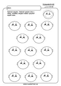 Tváre - grafomotorika - pracovné listy pre deti