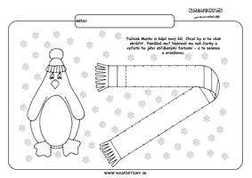 Tučniak a šál - grafomotorika - pracovné listy pre deti
