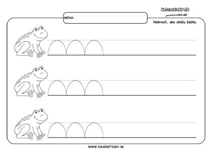 Žabka - grafomotorika - pracovné listy pre deti
