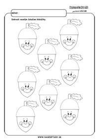 Žalude - grafomotorika - pracovné listy pre deti