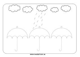 Dáždniky - grafomotorika - pracovné listy pre deti