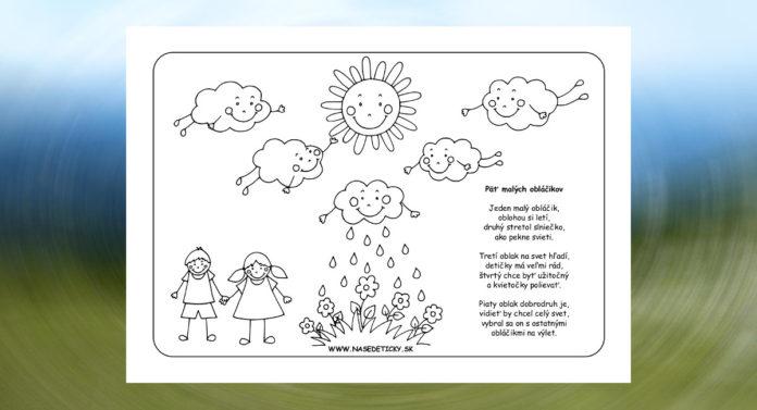 Oblaky - pracovný list a básnička pre deti