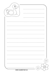 Listový papier s kačičkou a riadkami