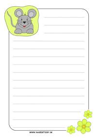 Myška - listový papier pre deti s riadkami