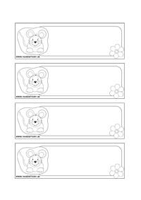 Myška - menovky pre deti na vyfarbenie