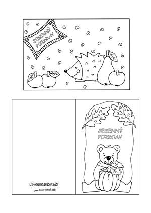 Jesenné pohľadnice pre deti na vyfarbenie