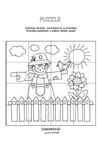 Puzzle strašiak - jesenné aktivity pre deti