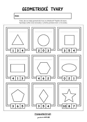Geometrické tvary - pracovný list