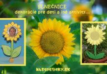 Slnečnice - dekorácie pre deti