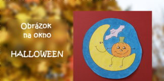 Tekvica na mesiačiku - Halloween - obrázok na okno