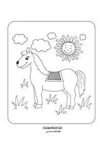 Koník - omaľovánka pre deti