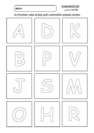 Písmenká - prváci - pracovný list pre prvákov